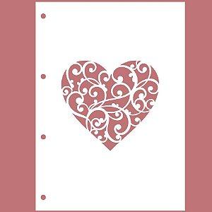 Capa Acrílica Branca Coração II + 4 Argolas Douradas + Contracapa Holler - Encanto de Flores