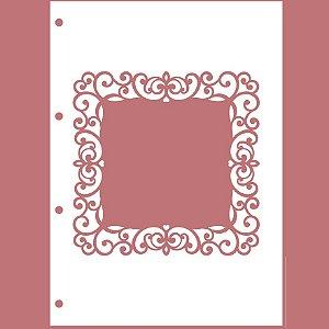 Capa Acrílica Branca Moldura II e+ 4 Argolas Douradas + Contracapa Holler - Encanto de Flores