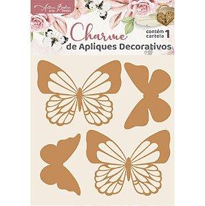 Apliques MDF Borboletas - Encanto de Flores