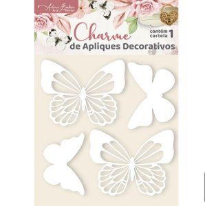 Apliques Acrílico Branco Borboletas II - Encanto de Flores