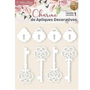 Apliques Acrílico Branco Chaves e Cadeados - Encanto de Flores