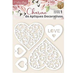 Apliques Acrílico Branco Coração Renda - Encanto de Flores