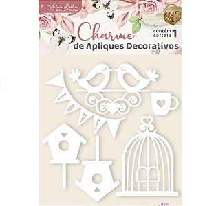 Apliques Acrílico Branco Pássaros - Encanto de Flores