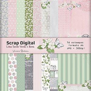 Scrap Digital Uma tarde Verde e Rosa |  by Vinicius Barbosa | A4 - 16 folhas| JPEG - 300dpi