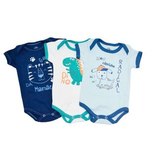 Kit Body Masc Dino c/3un - Tam M - Tutti Kids