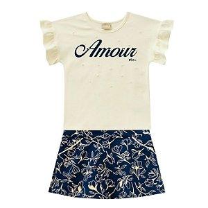 Conjunto Fem Amour Blusa + Short Saia - Tam 4 - Milon