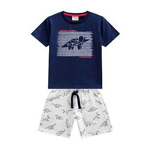 Conjunto Masc Dinossauro Camiseta + Bermuda - Tam 2 - Milon