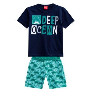Conjunto Masc Deep Ocean  Bermuda Malha - Tam 6 - Kyly