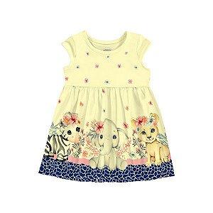 Vestido Bebê Animais Amarelo - Tam P - Alakazoo