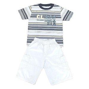 Conjunto Menino Class Camiseta Meia Malha + Bermuda Tela Paletizada  - Tam 06 - Brandili Mundi