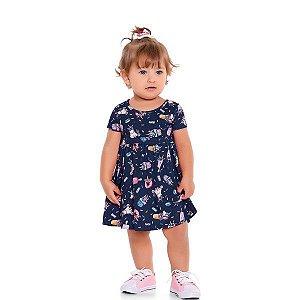 Vestido Bebê Unicórnios Marinho - Tam M - Fakini For Fun