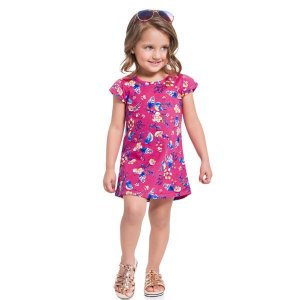 Vestido Flores Rosa - Tam 3 - Brandili
