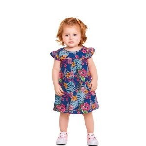 Vestido Bebê Flores Azul - Tam G - Fakini For Fun