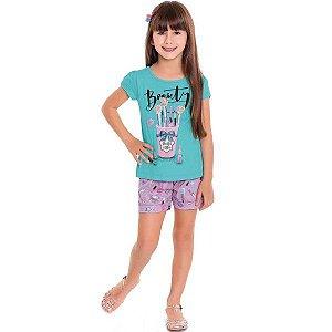Conjunto Fem Beauty Azul Blusa + Short  - Tam 8 - Fakini For Fun