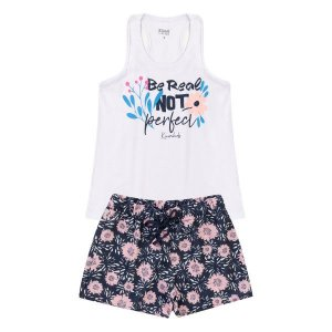 Conjunto Fem Perfect Branco Blusa + Short - Tam 8 - Kiiwi Kids