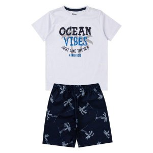 Conjunto Menino Ocean Vibes Branco - Tam 10 - Kiiwi Kids