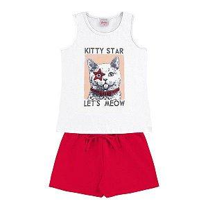 Conjunto Menina Kitty Branco - Tam 8 - Alenice