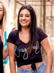 T-shirt Baby Look Vintage Bordada