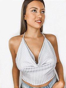 Blusa Cropped frente unica lurex prata