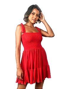 Vestido curto com busto em lastéx vermelho