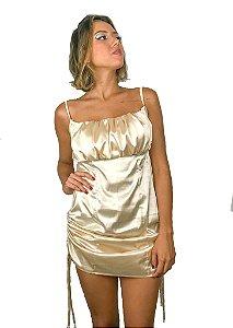 Vestido cetim regulável com busto franzido champagne
