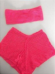 Conjunto crochê Rosa