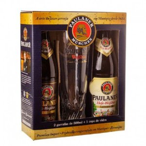 Kit Cerveja e Copo Paulaner Weiss Naturtrub e Dunkel 500ml
