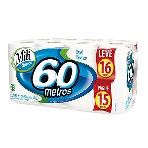 Papel Higiênico Mili Folha SIMPLES NEUTRO L16P15 - 60m