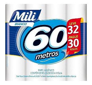Papel Higiênico Mili Folha SIMPLES NEUTRO L32P30 - 60m