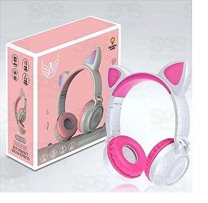 Fone de Ouvido s/ Fio Arco Bluetooth Orelha de Gato c/ Led (A-800)