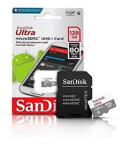 Cartão de Memória MicroSd 2x1 SanDisk 128Gb Classe 10 Ultra