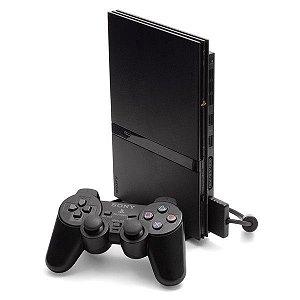 PS2 Slim Desbloqueado + 1 Controle Sem fio + Controle Com fio + 26 Jogos - Seminovo