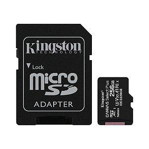Cartão Micro SD Canvas Select Plus Kingston 256gb 100mb/s