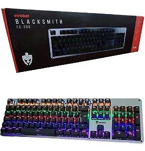 Teclado Mecânico Gamer Rgb Switch Blue Eg-208 Metal Escovado