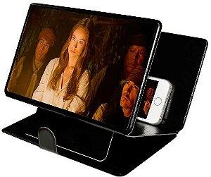 Ampliador Tela Celular Lente Universal Capa de Couro