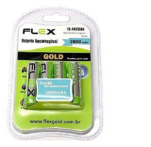 Pilha Recarregável 2800mAh Flex Fx-Aa28Lb Pacote C/ 4