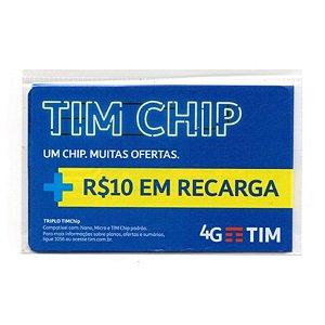 Chip Celular Tim + Saldo R$ 10,00 (Todos os Ddds)