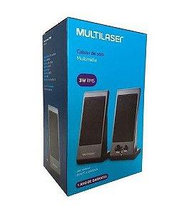 Caixa de Som 3w Rms Flat Usb 2.0 Multilaser Sp009