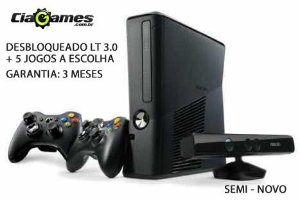 Console Xbox 360 4GB + 2 Controles S/ Fio + 1 Sensor Kinect + 5 Jogos a Escolha