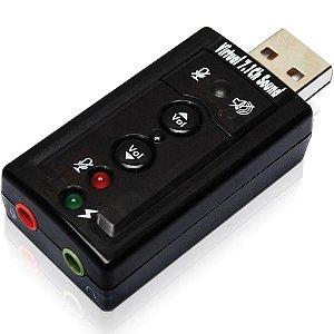 Placa Adaptador De som USB Externa 7.1 c/ 2 Saidas P2