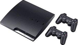 Console Playstation 3 Slim 160GB + 2 Controles + 1000 Jogos
