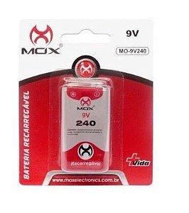 Pilha Bateria Recarregável 9V 240maH - Mox (MO-9V240)