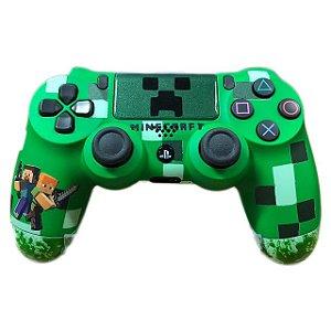 Controle Joystick Playstation 4 Sony Sem Fio Wireless Dualshock 4 Personalizado Minecraft