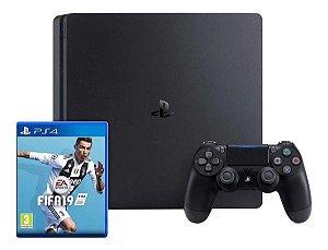 Playstation 4 Slim + 1 Controle +  Fifa 19 - Seminovo