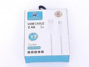 Cabo de Dados e Carga Micro USB v8 2.4A 2m - Renux (RE-CBO-6135)
