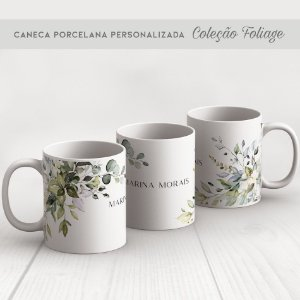 CANECA PORCELANA FOLIAGE