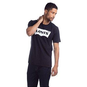 Camiseta Levi`s Adulto Preto Logo em Branco