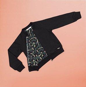 Jaqueta de Moletom Com Forro Estampado Preto