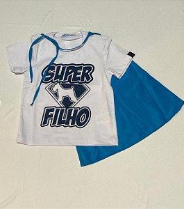 T-shirt em Malha Algodao Com Capa de Super Filho