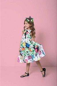 Vestido Infantil Feminino Midi Estampa Tucanos